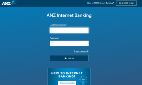 ANZ銀行アカウントのログイン画面